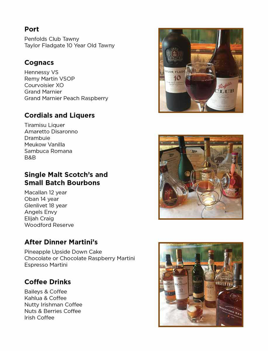 After Dinner Drinks Menu
